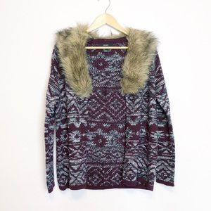 Forever 21 cardigan with faux fur collar